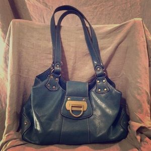 Nine West purse handbag satchel blue VGC